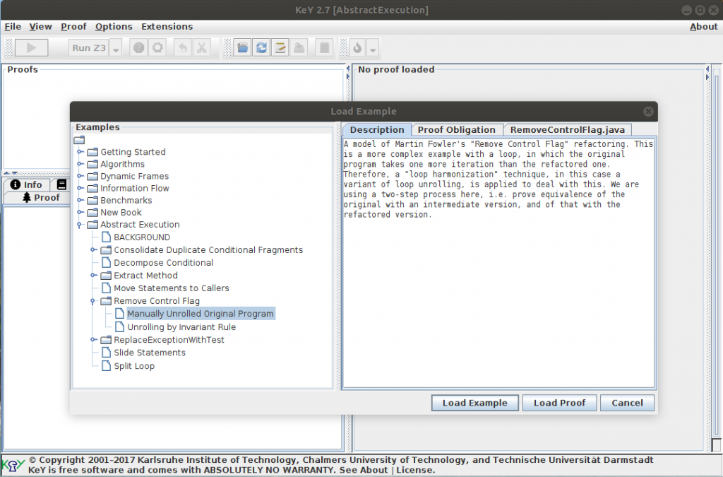"""Screenshot of the """"Load Example"""" dialog in KeY, with the Remove Control Flag example chosen."""